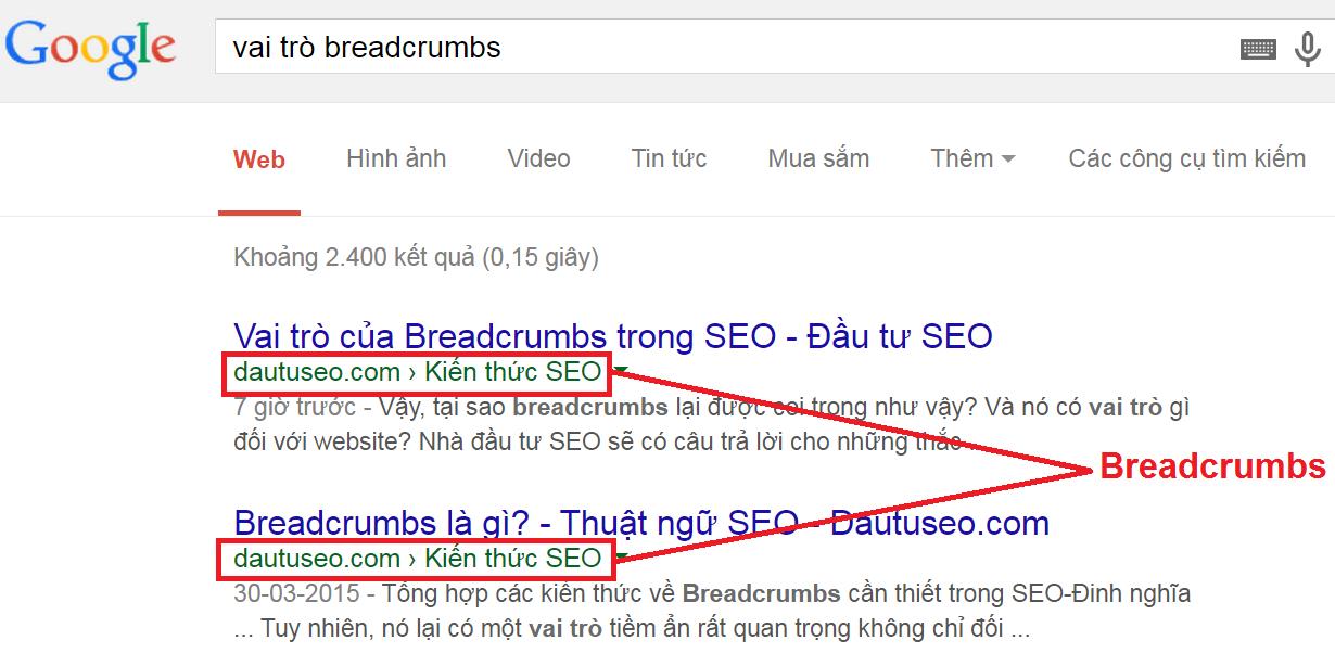 Vai trò = tầm quan trọng của breadcrumbs trong SEO =breadcrumb