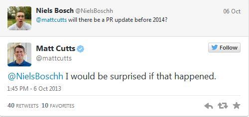 matt cutts nói rằng sẽ không cập nhật pagerank