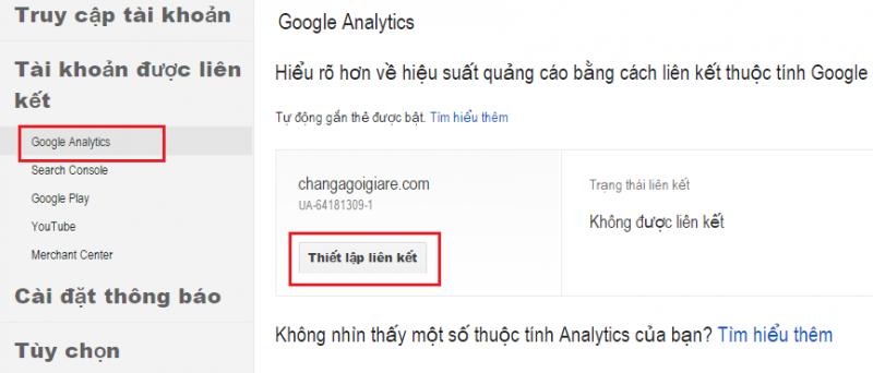 Hướng dẫn cài đặt liên kết Google Adwords và Google Analytics